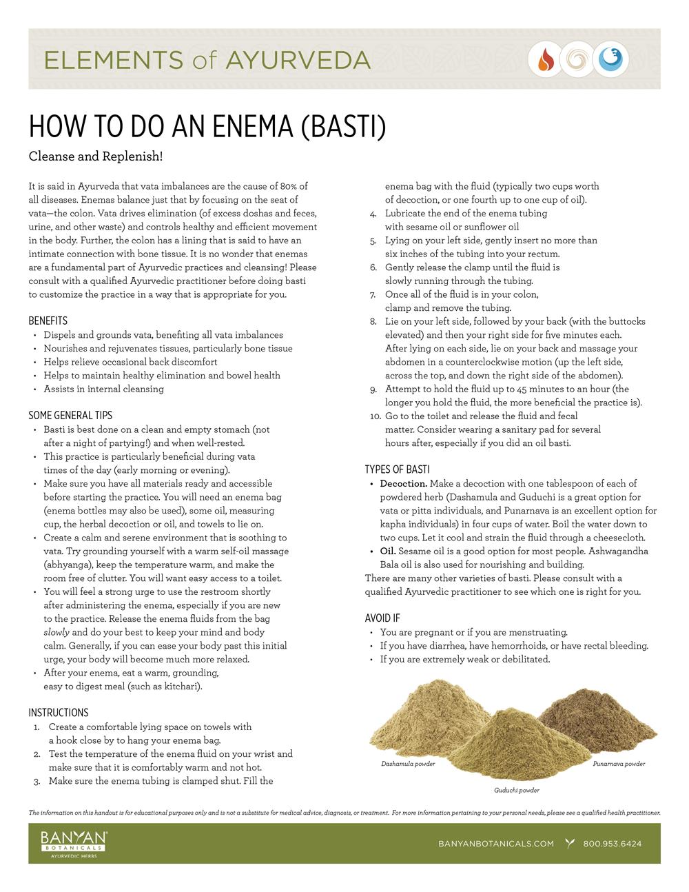 Elements of Ayurveda Handout: How to Do an Enema (Basti)
