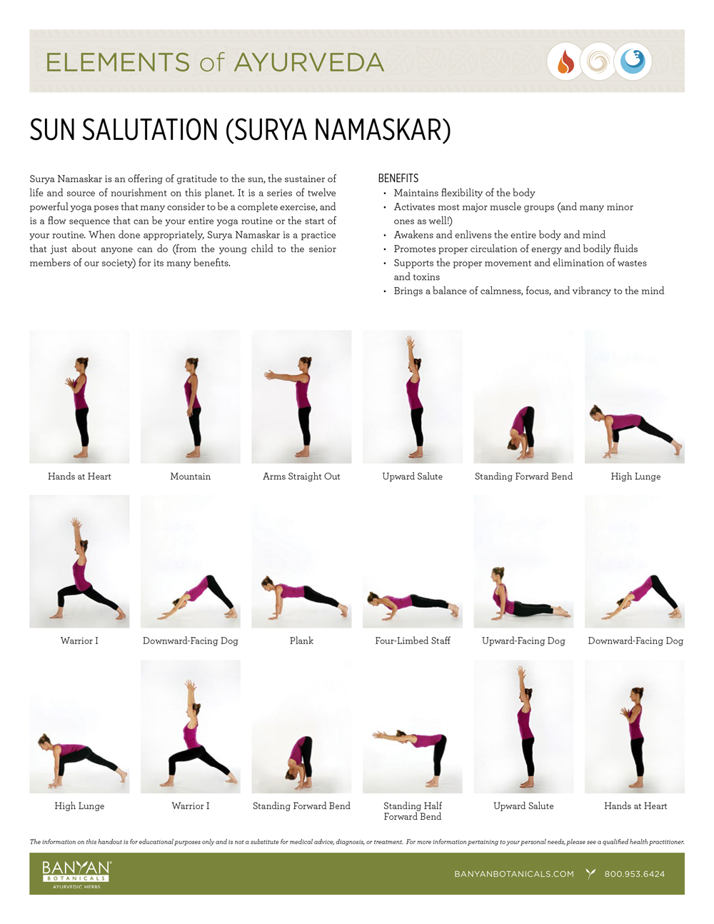 Elements of Ayurveda Handout: Sun Salutation