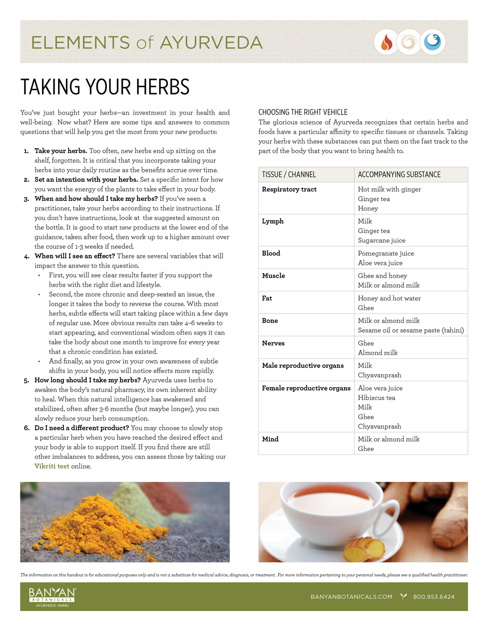 Elements of Ayurveda Handout: Taking Your Herbs